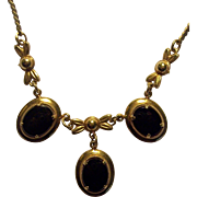 Black Onyx Gold Filled Necklace AMCO 1/20-12K GF Art Deco