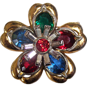 Vintage Unsigned Pennino Crystal Flower Layered Brooch