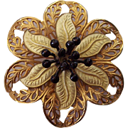 Vintage Enamel & Gold Filigree Flower Brooch
