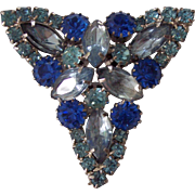 Lovely Layered Triangular Rhinestone Brooch in Shades of Blue in Silver tone
