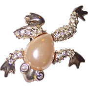 Leaping Faux Pearl Belly Frog by Jeanne Rhinestone Brooch Silver tone