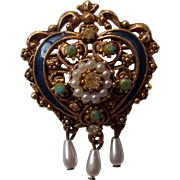 Florenza Victorian Revival Blue Enamel Faux Pearl Dangle Brooch Gold tone