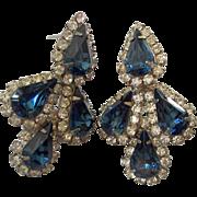 Sapphire Blue Pear Shaped Rhinestones Clear Rhinestones Pierced Earrings Silver tone