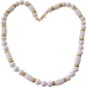 Vintage Napier White Beaded and Gold tone Necklace.