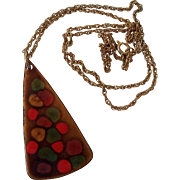 Mid Century Modern Enamel on Copper Triangular Pendant Fall Colors