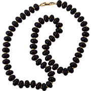 Napier Black and Gold Tone Spherical Beaded Necklace