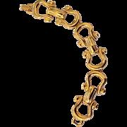 Designer Style Horseshoe Stirrup Link Bracelet Gold tone