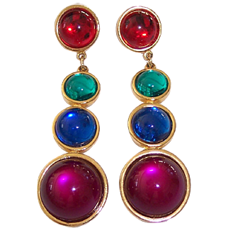 Bold Colorful Long Cabochon Earrings Gold tone