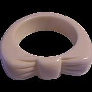 Chunky Ivory Lucite Bow Bangle Bracelet