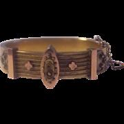 Victorian Etruscan Gold Filled Hinged Bangle Bracelet Antique B & B Bates & Bacon