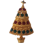 Christmas Tree Brooch Red Green Crystal Rhinestones Gold tone
