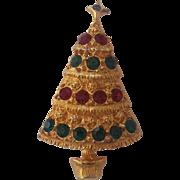 Christmas Tree Brooch Red Green Crystal Rhinestones Gold tone