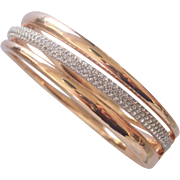 Pretty Swarovski Bracelet 3 Banded Hinged Bangle Crystals and Gold tone