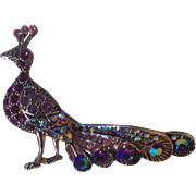 Majestic Peacock Bird AB  and Purple Rhinestone Brooch Silver tone