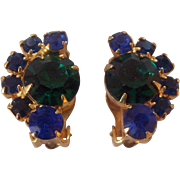 Vintage Blue & Green Crystal Earrings Rhinestone Clip ons Gold tone