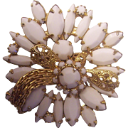 Unusual Milk Glass w/ Gold tone Bow Brooch