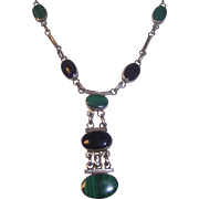 Sterling Silver Malachite & Onyx Dangling Necklace