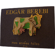 Fun Edgar Berebi Enamel Cow Pin w/ Articulating Head Still on Card