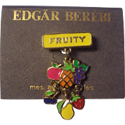 Fun Edgar Berebi Enamel Fruity Dangling Fruit Pin on Original Card