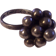 Sterling Silver Beaded Ball Bubble Ring Mexico Signed