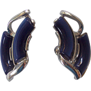 Coro Dark Blue Thermoset Moon glow Earrings Silver tone