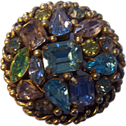 Beautiful Barclay Pastel Rhinestones Gold tone Brooch