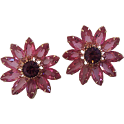Gorgeous Weiss Large Pink Purple Rhinestone Flower Earrings in Gold tone
