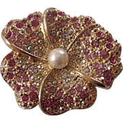 Beautiful Pansy Brooch Pink and Aurora Borealis Faux Pearl Gold tone Brooch