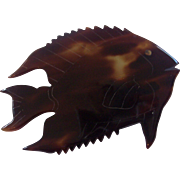 Faux Tortoise Shell Fish Brooch