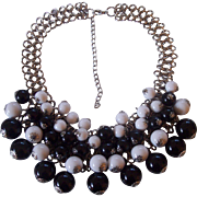 Wonderful Chunky Black & White Cha Cha Dangle Necklace Silver tone