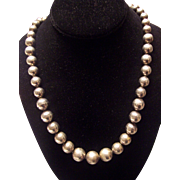 """Heavy Mexican Sterling Silver Ball Bead Graduated Necklace 29"""""""