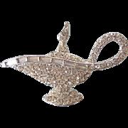 Vintage Alladin's Lamp Rhinestone Brooch Silver tone - Red Tag Sale Item