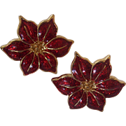 Red Enamel Poinsettia Earrings Gold tone