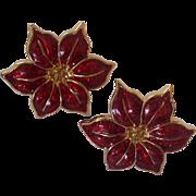 Red Enamel Poinsettia Earrings Gold tone