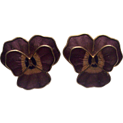 Fish & Crown Purple Enamel Pansy Earrings Cloisonne