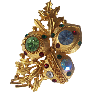 Christmas Balls Ornament Brooch with Crystals in Gold tone