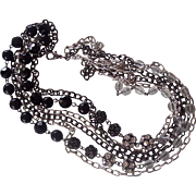 3 Strand Long Necklace Black & Clear Crystals Silver tone and Dark Chains
