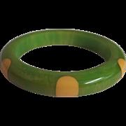 Bakelite Green & Yellow Polka Dots Bangle Bracelet Vintage 6 Dots