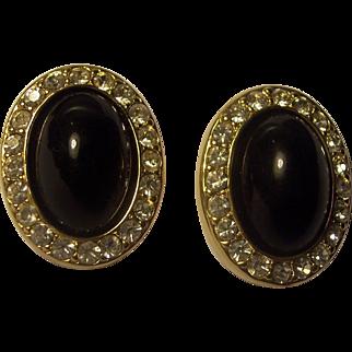 KJL Kenneth J Lane Black Cabochon Rhinestone Earrings Gold tone