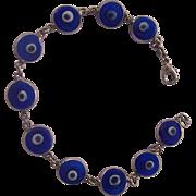 Blue Italian Glass Sterling Evil Eye Bracelet