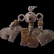 Folk Art Dangling Pendant Cat Necklace 3 Cats Silver tone Brass