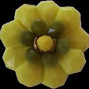 Fun W. German Flower Brooch Lemon & Lime Colors