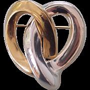 2 Tone Gold & Silver Tone Erwin Pearl Pretzel Brooch
