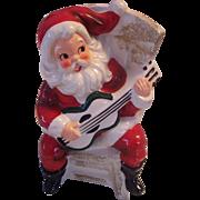 Santa Claus Playing Guitar Figure Planter Japan Calart