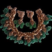 Napier Lucky Elephant Charm Bracelet & Earrings Jade Peking Glass