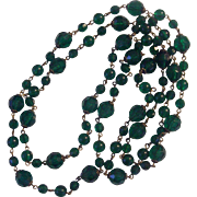 "Extra Long Green Faceted Beaded 60"" Plastic & Glass Beads"