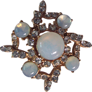 Vintage Faux Opal Moonstone and Rhinestone Gold tone Brooch