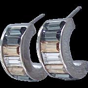 Judith Leiber Demi Hoop Pierced Earrings Rhinestone Baguettes Silver tone