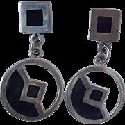 Nice Sterling Mexican Dangle Earrings Black Enamel Pierced