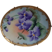 Antique Victorian Large Violet or Pansy Porcelain Brooch Hand Painted